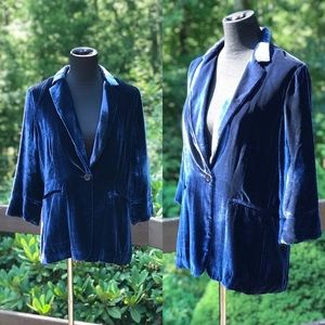 Ecru Blue Velvet Jacket Blazer